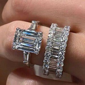 2pcs/set 925 Silver Rings Cut White Sapphire